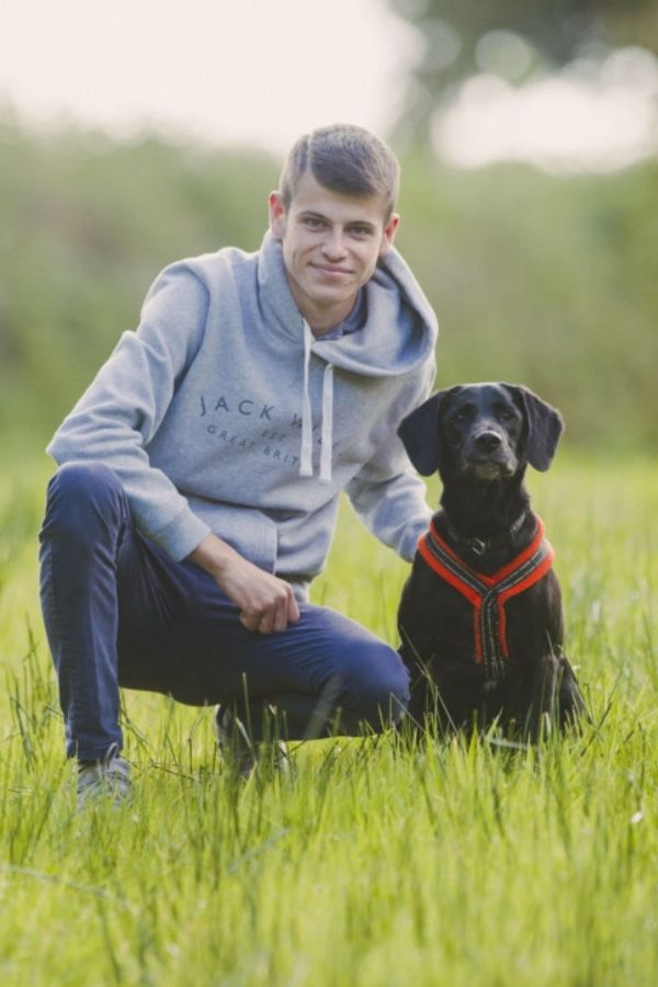 photo of dog trainer Liam Landymore with his dog